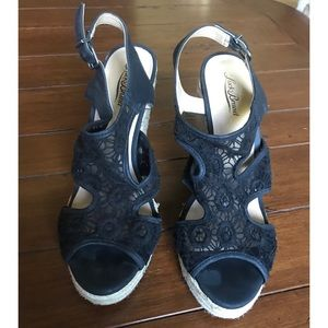 Lucky Brand Black Lace Wedges